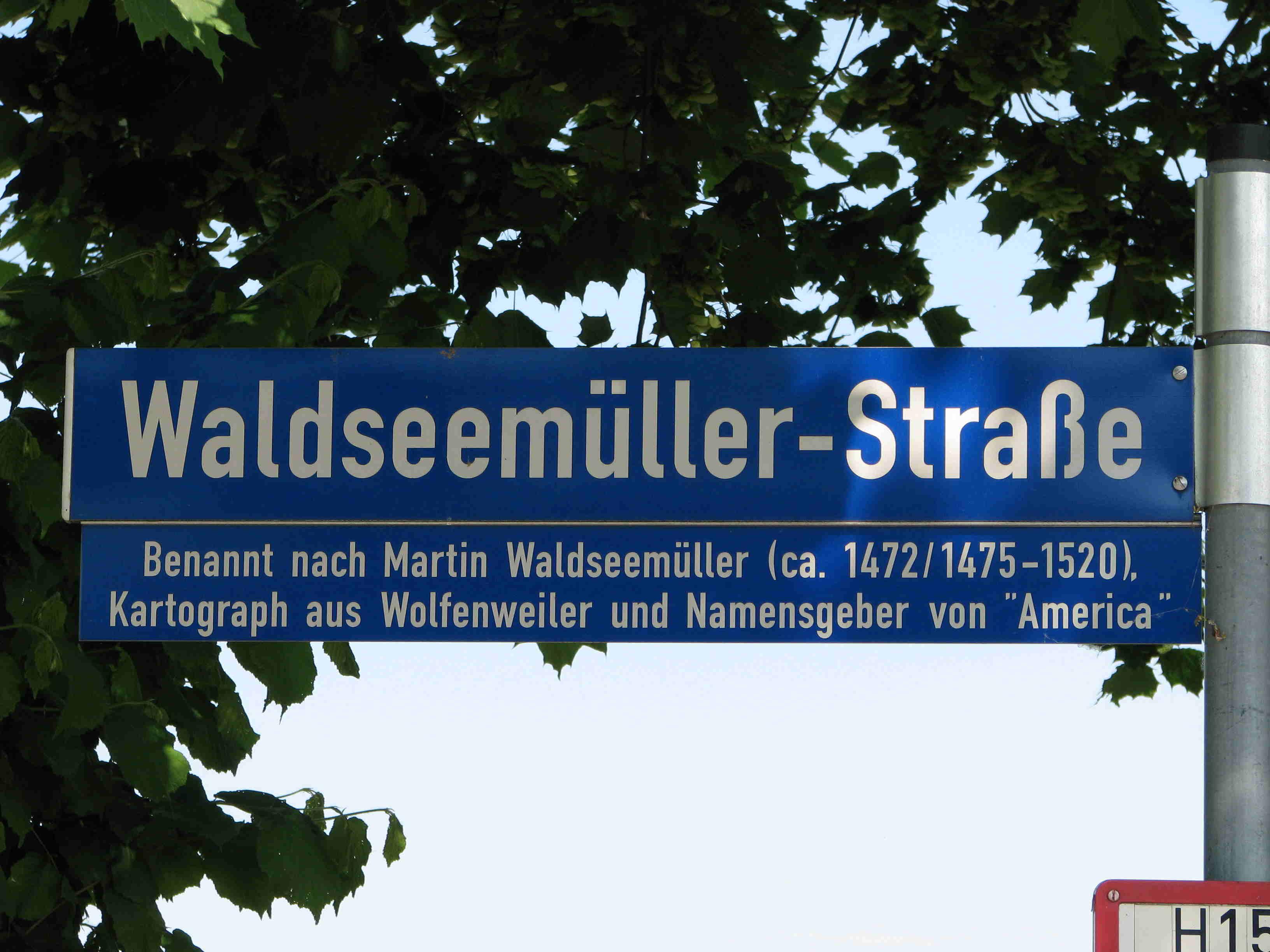Straßennamensschild Waldseemüller-Straße