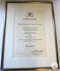 Urkunde Auszeichnung Flurneuordnung
