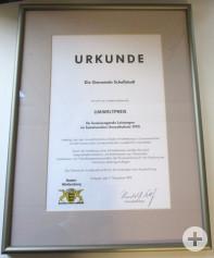 Urkunde Umweltpreis